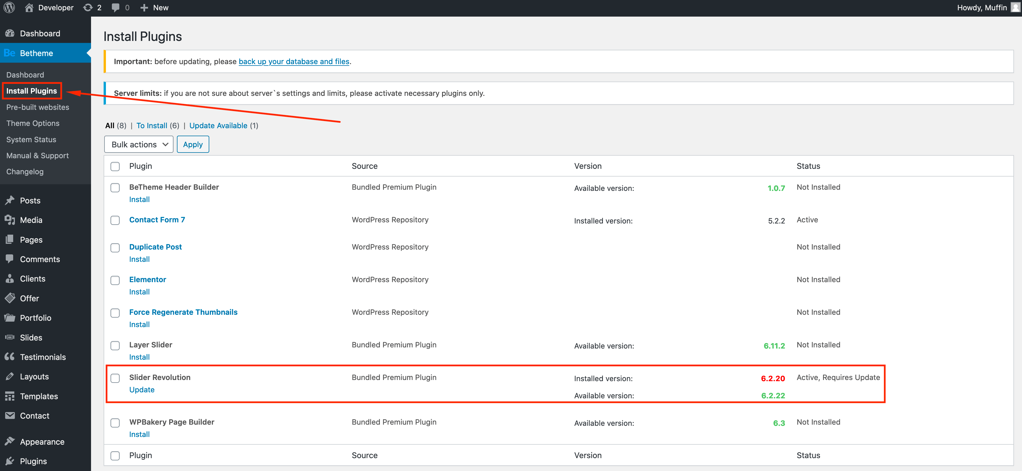install plugins section