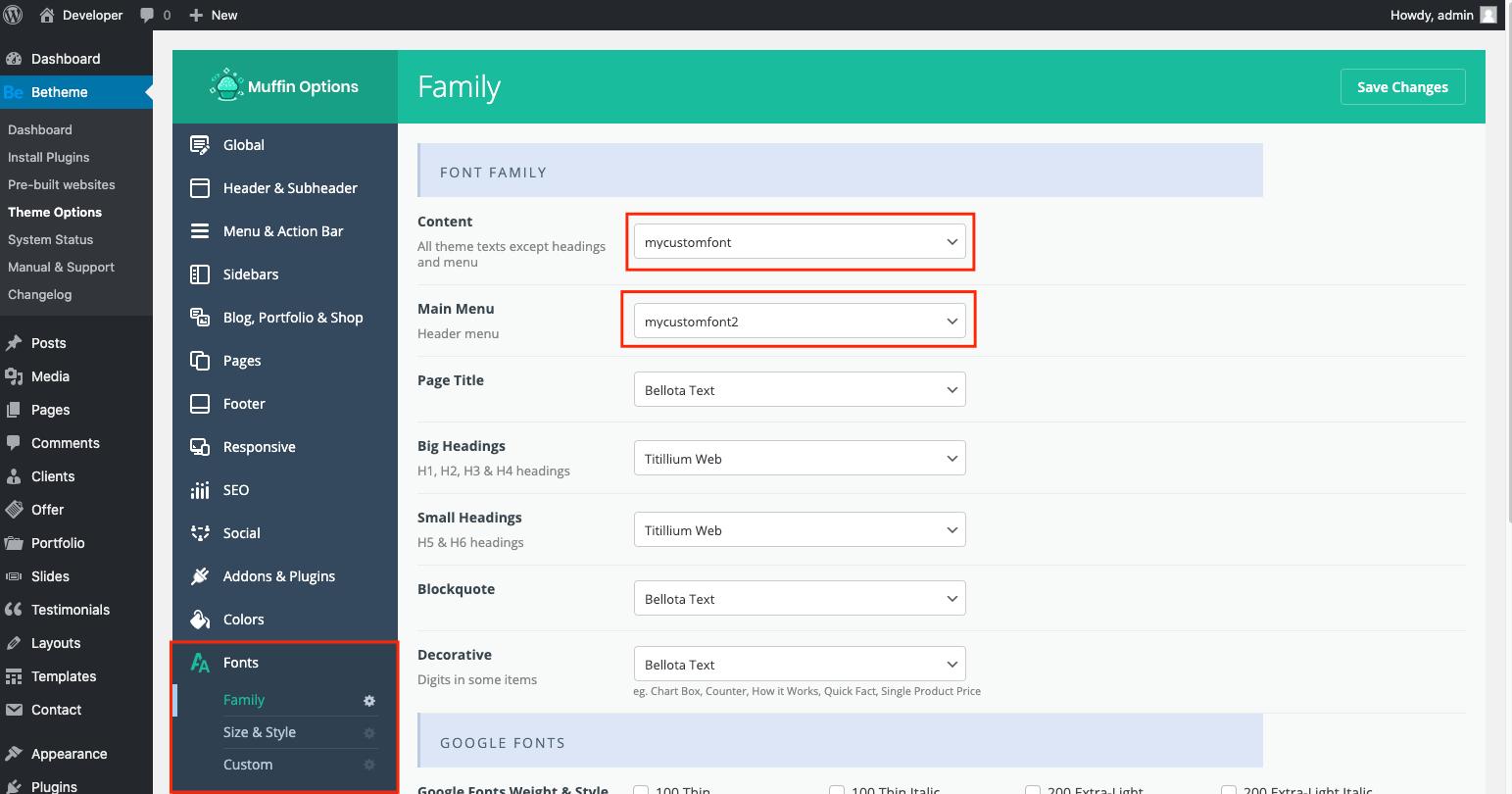 custom fonts select