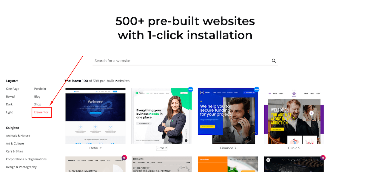 elementor pre-built websites