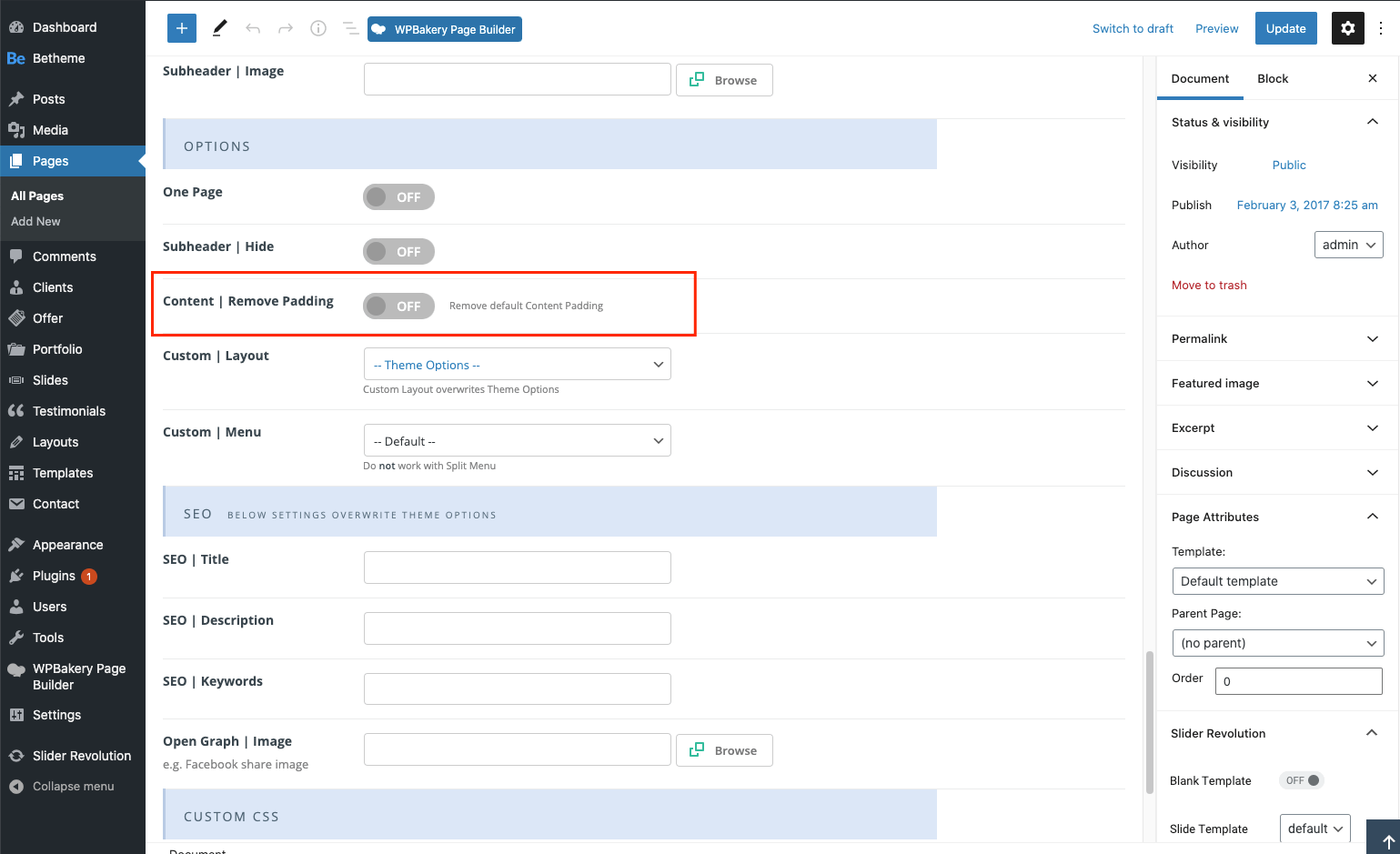 page options content padding