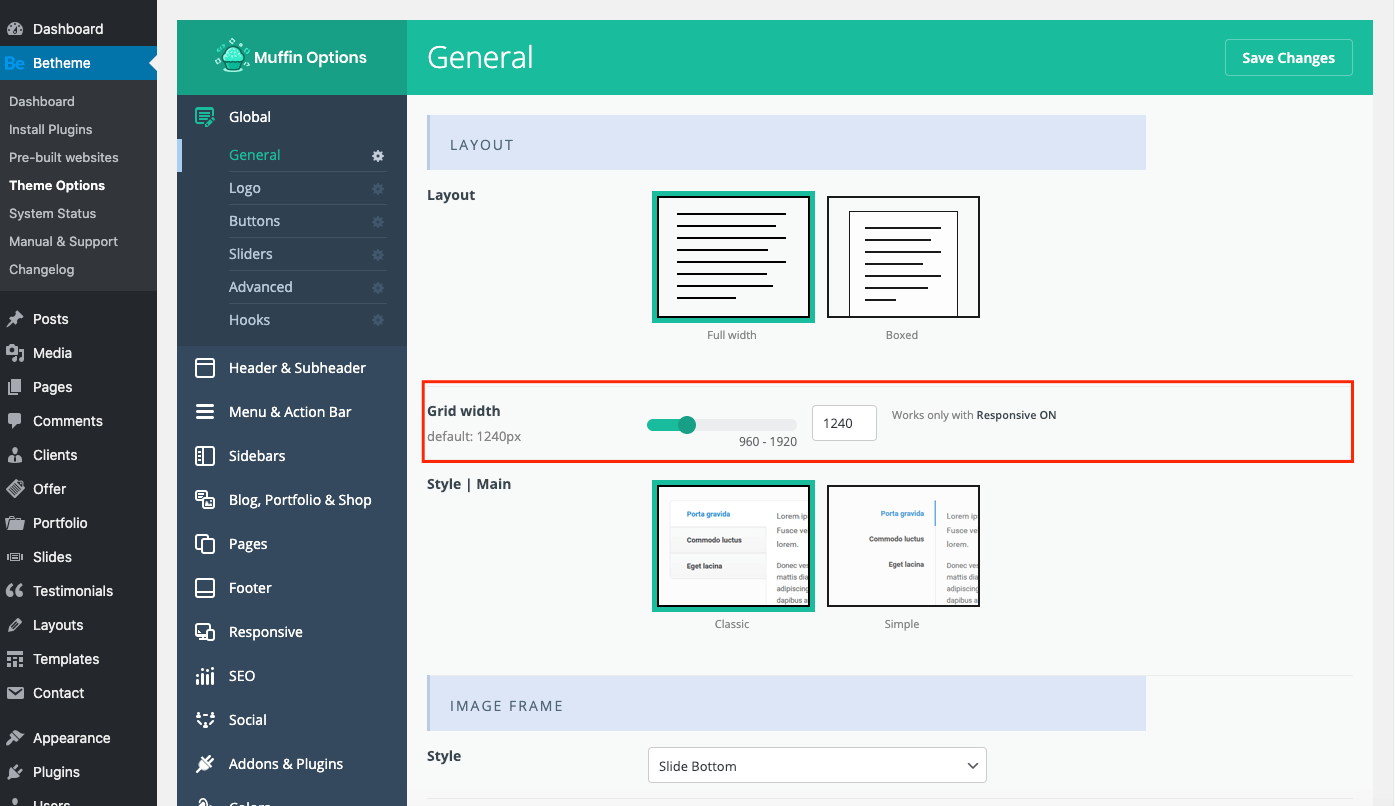 theme options grid width