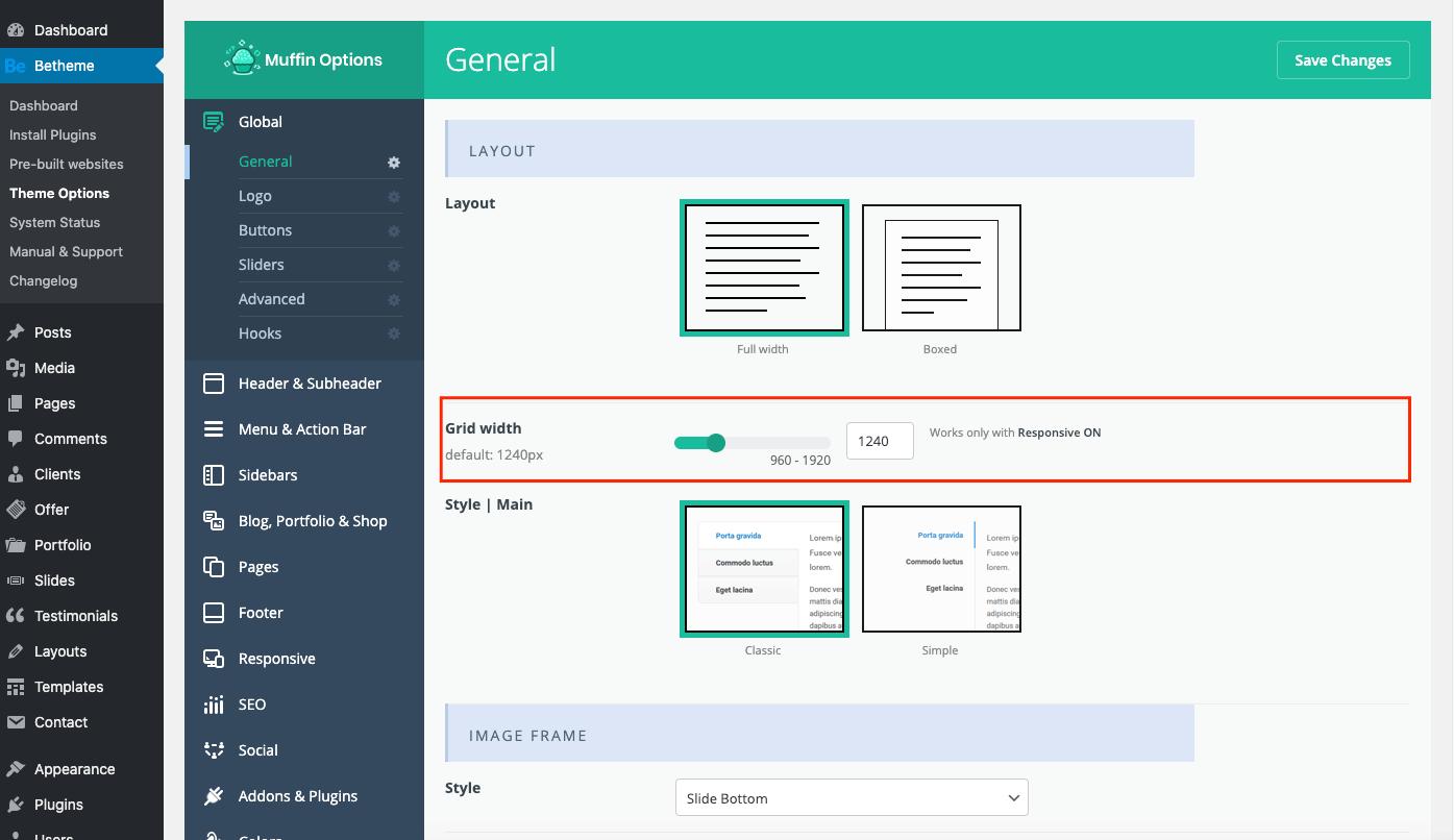 theme options grid width