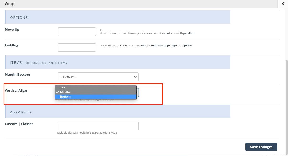 wrap options vertical align option
