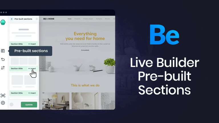 Pre-built sections in Muffin Live Builder