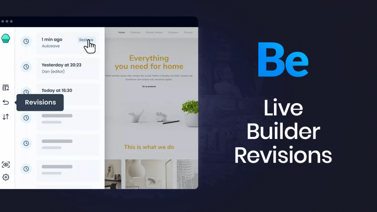 Revisions in Muffin Live Builder