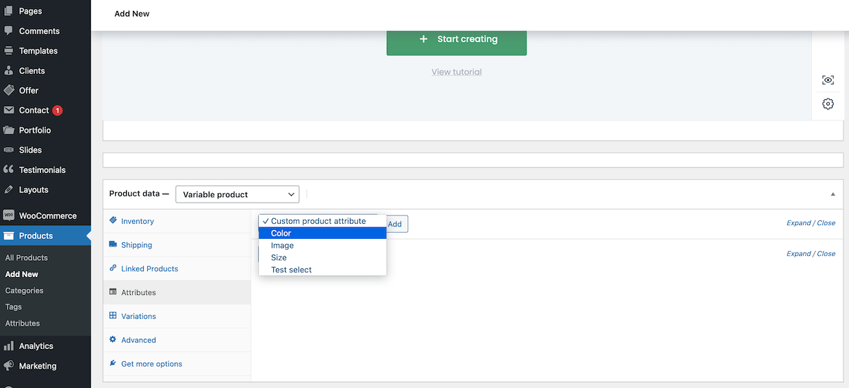 select attribute for product