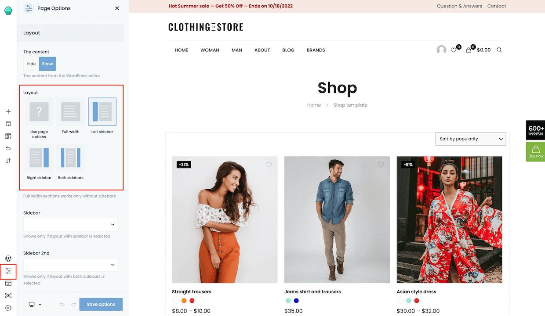 sidebar page options shop