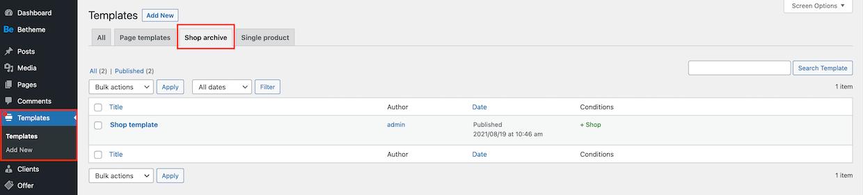 templates - shop archive